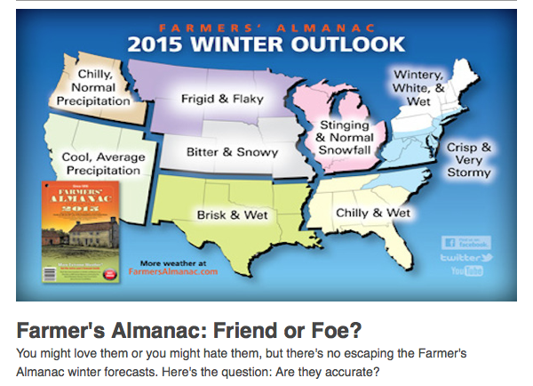 Summer Monsoon % of Average and Farmers Almanac Winter Forecast 2015 ...