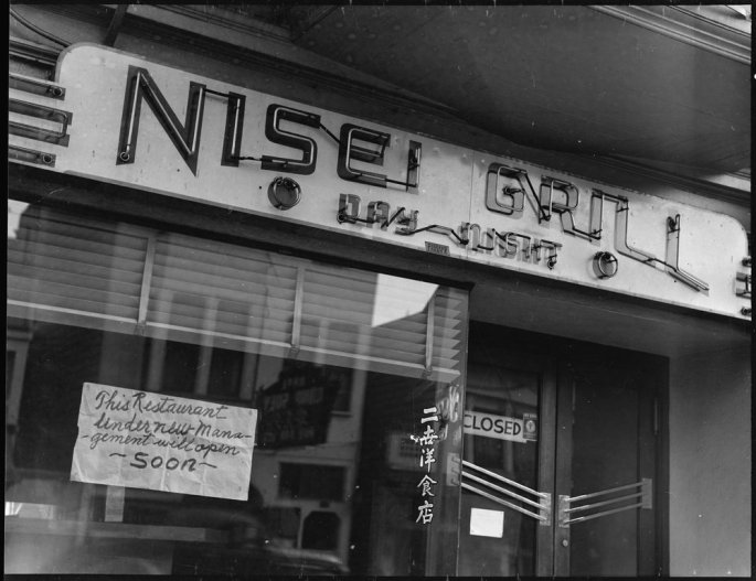 "San Francisco, California. This restaurant, named ""Nisei"" after second- generation children born in this country to Japanese immigrants was closed prior to evacuation of residents of Japanese ancestry; and, according to sign in the window, was scheduled to re- open under new management. Evacuees will be housed at War Relocation Authority centers for [the] duration."